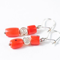 Short Red Coral Earrigns Beaded Summer Earrings Jewelry Mother Day Gift