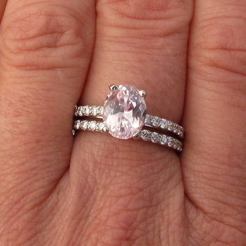 Whisper Pink Champagne Spinel Diamond Accented 14k White Gold Bridal Set Great Sapphire Alternative