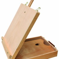 """US Art Supply® Newport Large Adjustable Wood Table Sketchbox Easel, 13""""x17 1/2""""x5-3/8"""" - Desktop Artist Easel - Wooden Portable Compact Stand - Student Drawing Painting With FREE Palette"""