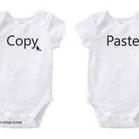 Geek Copy & Paste Identical Twins Cute Baby Funny Humor by bareit