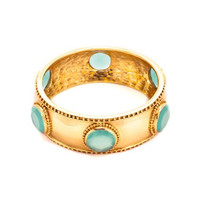 Faceted Baroque Hinge Bangle | Aqua Chalcedony