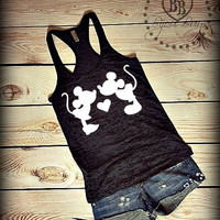 Minnie and Mickey Mouse kiss - Mickey and Minnie Mouse - Disney Design on Racerback, Burnout Tank Top- Sizes S-XL. Other Colors Available