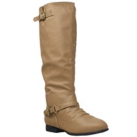 Womens Riding Knee High Boots Taupe