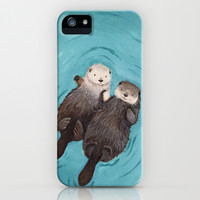 Otterly Romantic - Otters Holding Hands iPhone & iPod Case by When Guinea Pigs Fly