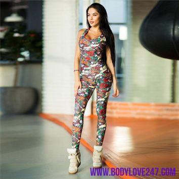Yoga Sport Jumpsuits Backless Female Gym Clothes  Yoga Set