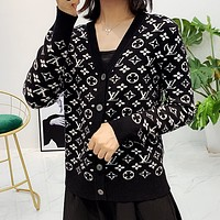 LV Louis Vuitton Women Crochet Buttons Cardigan Knitwear