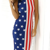 Flag Print Sleeveless Slimming Dress