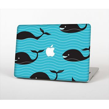"""The Teal Smiling Black Whale Pattern Skin Set for the Apple MacBook Pro 15"""" with Retina Display"""