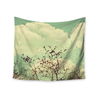 """Sylvia Coomes """"Birds of a Feather"""" Green Brown Wall Tapestry"""