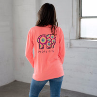 Classic Fit Neon Coral Rainbow Tee
