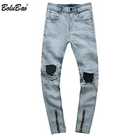 New Summer Men Ripped Hole Stretch Skinny Jeans Classic Fashion Destroyed Distressed Holes Men Jeans