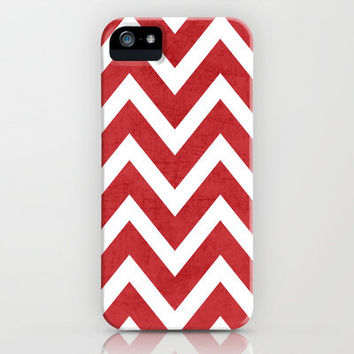 red chevron iPhone Case by her art