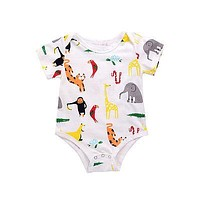 Summer born Infant Baby Boys Girls Zoo Romper Cotton Short Sleeve Jumpsuit Outfits Sun-suit Clothes