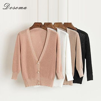 2017 Women Pearl Knitted Cardigans Summer Metal Color V-neck Three Quarters Sleeve Sweater Female Pink Thin Spring Outwear