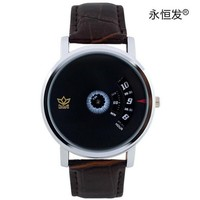wristwatch fashion genuine Leather watchband watch Turntable dial quartz watch mens watches waterproof relogio masculino