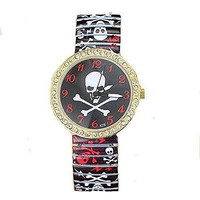 Skull and Cross Bones Gold and Crystal Stretch Watch (Red, Black, White)