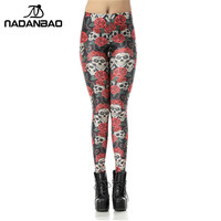 NADANBAO 3D Digital Legins High Waist Skull Rose Leggins Printed Women Leggings