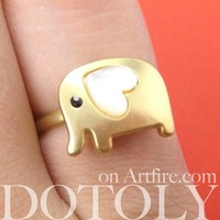Adjustable Elephant Ring in Gold with Pearl Like Heart Shaped Ears from Dotoly Love
