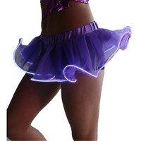 Tutu Mini Skirts Solid Tulle Ball Gown Jupe Ruffles Elastic Skirts LED Dancing Light Mini Colorful Skirt