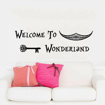 Wall Decals Quotes Alice in Wonderland Wall Decal Art Welcome To Wonderland Sayings Rabbit Wall Vinyl Decals Nursery Home Decor