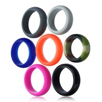 8MM Multicolor Size 7-12 Hypoallergenic Crossfit Flexible Silicone Rubber Band Ring Wedding Engagement vintage rings for women