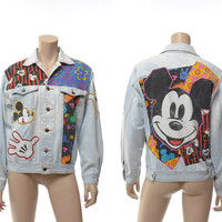 Vintage 80s Mickey Mouse Acid Wash Denim Jacket 1980s Patchwork Novelty Walt Disney Disneyland Character Graphic Jacket / size S / Unisex