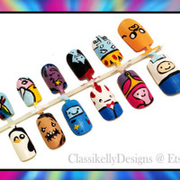 Adventure Time Nail Set by ClassikellyDesigns on Etsy