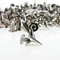 SZD 100pcs/set 9.5mm Silver Cone Spikes Screwback Studs DIY Craft Cool Rivets Punk   AihaZone Store