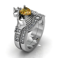 Sterling Silver Citrine Claddagh  Love and  Friendship Engagement Ring Set