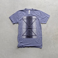 The Palindromes - mens t shirt - geometric print on heather gray - reflected triangles and dots - tshirt for men / for him