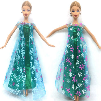 NK One Set Princess Doll Elsa Movie Similar Dress Fairy Tale Wedding Dress Gown Party Outfit For Barbie Doll Best Girls' Gift