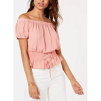 Ultra Flirt Juniors Smocked Lace-up Off-the-Shoulder Blouse, S/Apricot