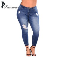 Women Skinny Slim Pencil Bas Jeans Female High Waist Hole Ripped Pants Lady Plus Size Bottom Causal Elasticity Denim Clothing