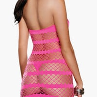 Pink Halter Striped Fence Cut-Out Chemise