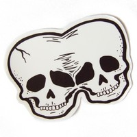 Conjoined Twins Skull Vinyl Sticker by Ectogasm