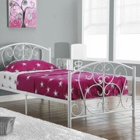 I 2390W White Metal Twin Size Bed Frame Only