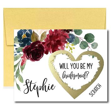 Marsala Will You Be My Bridesmaid Scratch Off Cards