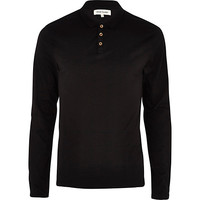 River Island MensBlack long sleeve polo shirt