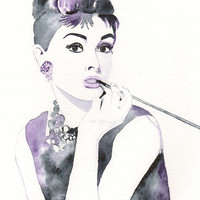 Original watercolor painting - Audrey Hepburn