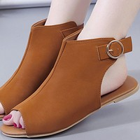 Summer new style hot sale one word buckle open toe Roman fish mouth sandals and slippers