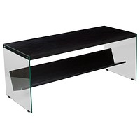 Highwood Collection Coffee Table with Shelves and Glass Frame