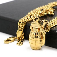Stainless Steel Gold Grenade Pendant w/ 5mm Miami Cuban Chain