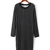 Black and White Vertical Striped Long Sleeve Knitted Tunic Dress