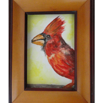 Red Cardinal Watercolour Painting - Water Color Art - Affordable Art - SamIamArt
