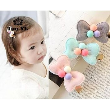 Cute Bow Gold colorway hair clips for kids Coloful Beads Kids accessories Barrette Gift hair favor