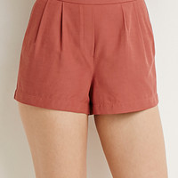 Textured Pleat-Front Shorts