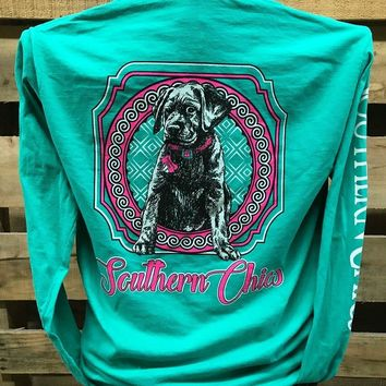 Southern Chics Puppy Lab Dog Comfort Colors Long Sleeves Bright Unisex T Shirt