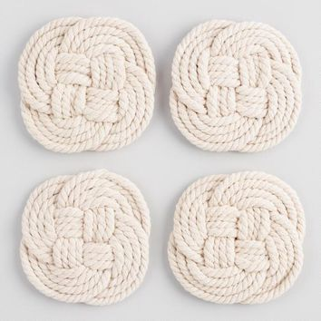 Natural Macrame Knotted Coasters 4 Pack