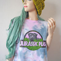 JURASSIC PUG PRINT Astral 90s Oversized Grunge Cute Dog Puppy Tie Dye T-Shirt