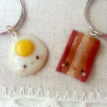 Bacon and eggs friendship keychains, bacon and egg pendant, best friend charm, bff food necklace, kawaii charm